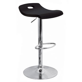 Black Curved Wood Hydraulic Barstool