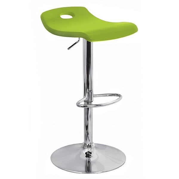 Green Curved Wood Hydraulic Barstool