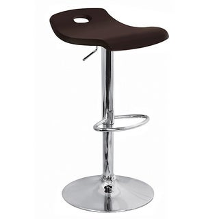 Dark Brown Curved Wood Hydraulic Barstool