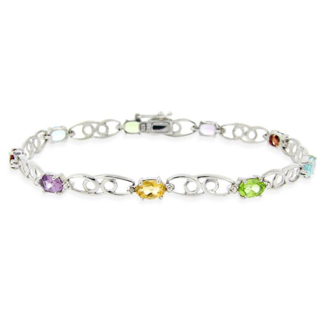 Glitzy Rocks Sterling Silver Multi-gemstone and Diamond Accent Bracelet