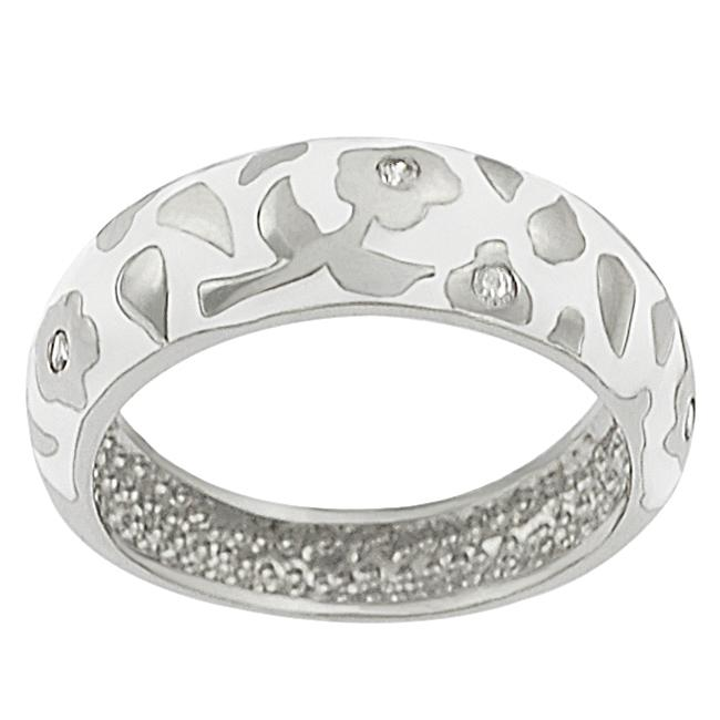 Journee Collection  Sterling Silver CZ-accented White Enamel Flower Ring