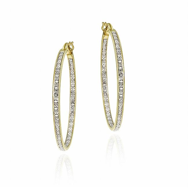 DB Designs 18k Gold over Sterling Silver Diamond Accent Earring Hoop Earrings