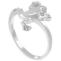 Journee Collection  Sterling Silver Jumping Frog Ring - Thumbnail 1