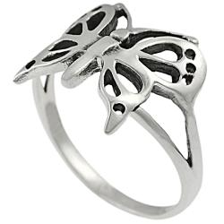 Journee Collection  Highly Polished Sterling Silver Butterfly Ring