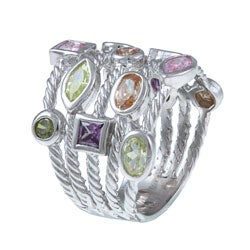 La Preciosa Sterling Silver Multi-colored Cubic Zirconia 5-strand Cable Ring - Thumbnail 1