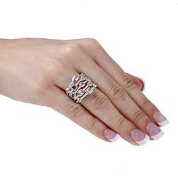 La Preciosa Sterling Silver Multi-colored Cubic Zirconia 5-strand Cable Ring - Thumbnail 2