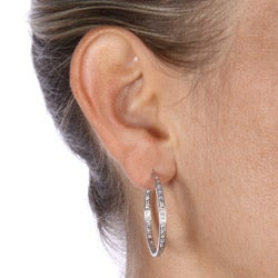 DB Designs Sterling Silver Diamond Accent Earring Hoop Earrings - Thumbnail 2