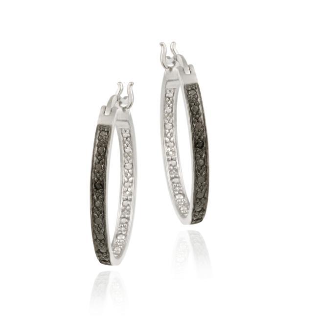 DB Designs Sterling Silver Black Diamond Accent Oval Hoop Earrings