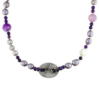 Miadora Pearls FW Pearl and Multi-gemstone Necklace (10-14 mm)