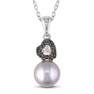 Miadora Sterling Silver Pearl and 1/10ct TDW Diamond Necklace (G-H, I2-I3)