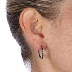 DB Designs Sterling Silver 1/4ct TDW Black Diamond Hoop Earrings - Thumbnail 2