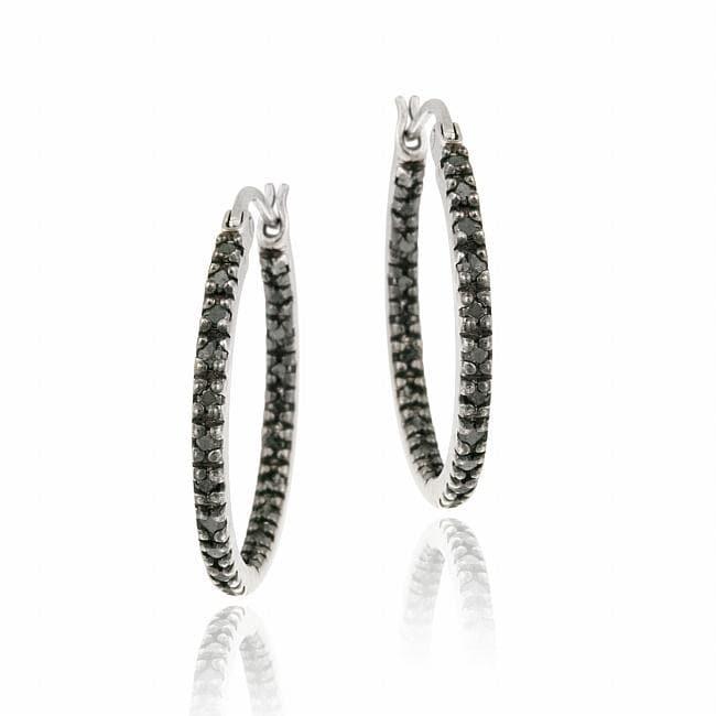 DB Designs Sterling Silver 2/5ct TDW Black Diamond Hoop Earrings
