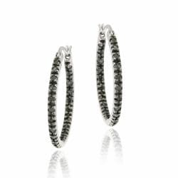 DB Designs Sterling Silver 2/5ct TDW Black Diamond Hoop Earrings