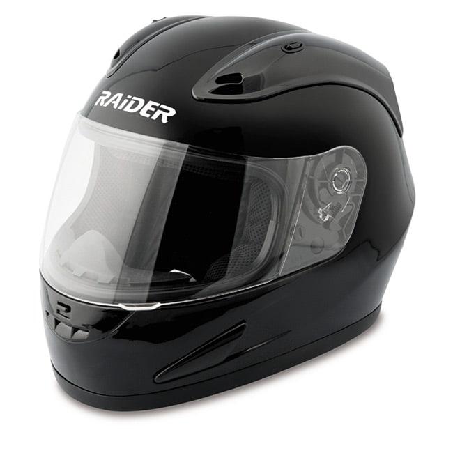 Raider Black Unisex Plastic Full Face Street Helmet DOT Approved