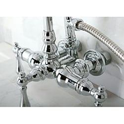 Double-Handle Deck-Mount Chrome Clawfoot Tub Faucet - Thumbnail 1
