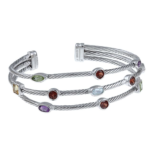 La Preciosa Sterling Silver Multi Gemstone 3 Strand Cable Cuff Bracelet