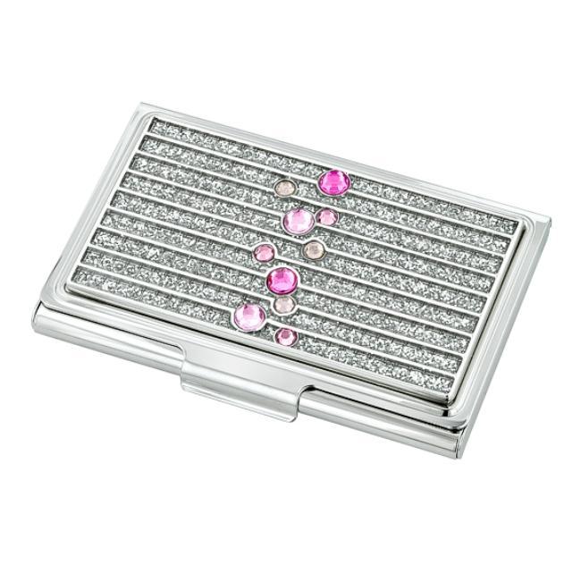 Pink Glitter Gradient Diamond Business Card Holder
