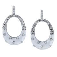 La Preciosa Sterling Silver White Enamel and Crystal Oval Earrings