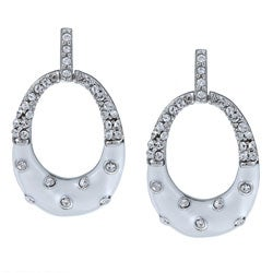 La Preciosa Sterling Silver White Enamel and Crystal Oval Earrings
