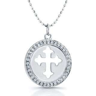 Victoria Kay Sterling Silver 1/8ct Diamond Cross Necklace