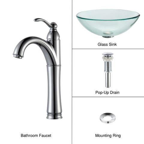 Kraus 4-in-1 Bathroom Set C-GV-101-12mm-1005 Clear Glass Vessel Sink, Riviera Faucet, Pop Up Drain, Mounting Ring