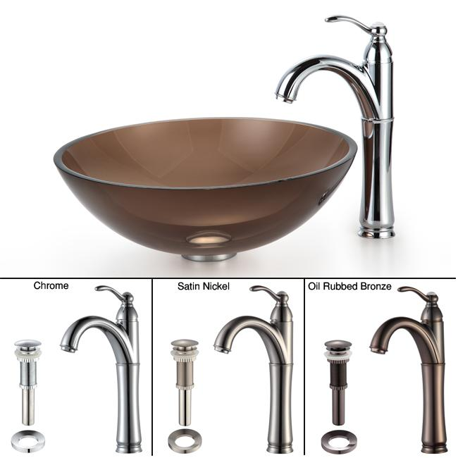 KRAUS Glass Vessel Sink in Brown with Single Hole Single-Handle Riviera Faucet in Chrome