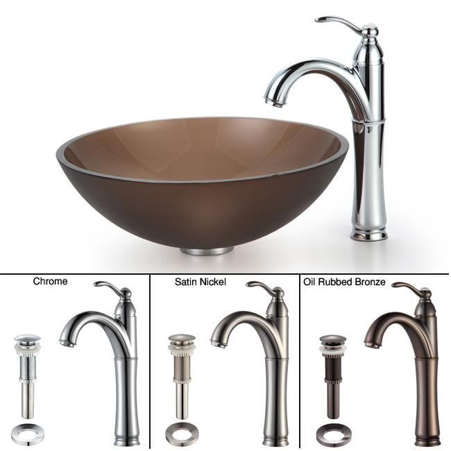 KRAUS Frosted Glass Vessel Sink in Brown with Single Hole Single-Handle Riviera Faucet in Satin Nickel