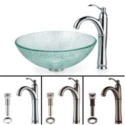 Kraus Bathroom Combo Set Broken Glass Vessel Sink/Rivera Faucet
