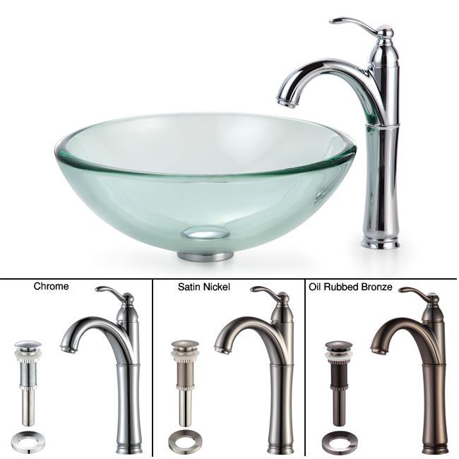 Kraus Bathroom Combo Set Clear 19-mm Glass Vessel Sink/Rivera Faucet