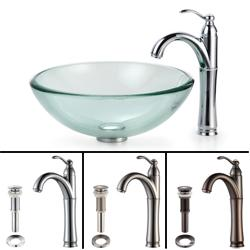 Kraus Bathroom Combo Set Clear 19-mm Glass Vessel Sink/Rivera Faucet