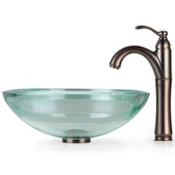 KRAUS 34 mm Thick Glass Vessel Sink in Clear with Riviera Faucet - Thumbnail 1