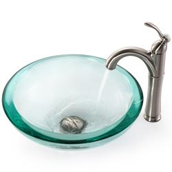 KRAUS 34 mm Thick Glass Vessel Sink in Clear with Riviera Faucet - Thumbnail 2