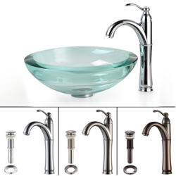 KRAUS 34 Mm Thick Glass Vessel Sink In Clear With Riviera Faucet