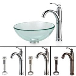 KRAUS Glass Vessel Sink with Single Hole Single-Handle Riviera Faucet in Chrome
