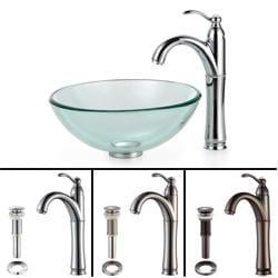 Kraus Bathroom Combo Set Clear 14-inch Glass Vessel Sink/Faucet