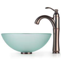 ... KRAUS Frosted Glass Vessel Sink In Clear With Single Hole Single Handle  Riviera Faucet ...
