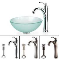 KRAUS Frosted Glass Vessel Sink in Clear with Single Hole Single-Handle Riviera Faucet