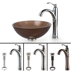 KRAUS Glass Vessel Sink in Brown with Single Hole Single-Handle Riviera Faucet