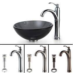 KRAUS Glass Vessel Sink in Black with Single Hole Single-Handle Riviera Faucet in Satin Nickel