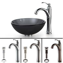 Kraus Bathroom Combo Set Black Frosted 14-inch Glass Sink/ Faucet
