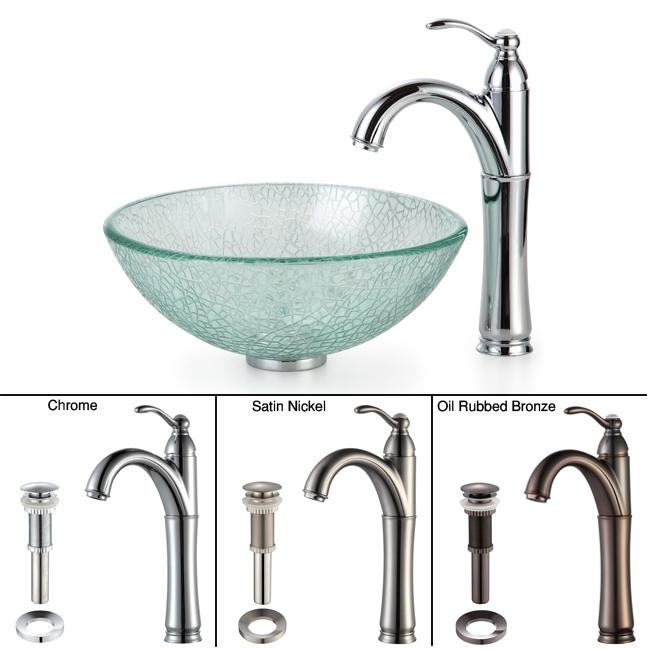KRAUS Broken Glass Vessel Sink in Clear with Single Hole Single-Handle Riviera Faucet in Chrome