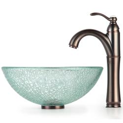 KRAUS Broken Glass Vessel Sink in Clear with Single Hole Single-Handle Riviera Faucet in Chrome - Thumbnail 1