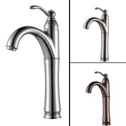 KRAUS Riviera Single Hole Single-Handle Vessel Bathroom Faucet in Satin Nickel