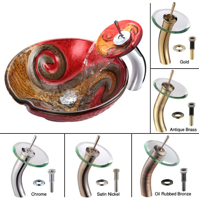 Kraus Bathroom Combo Set Copper Snake Vessel Sink/Waterfall Faucet - Thumbnail 0
