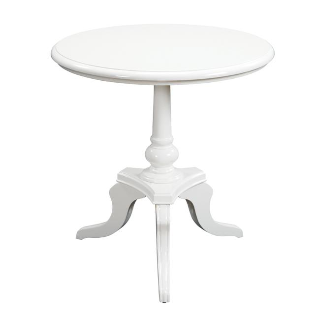 White Lacquer Finish Round Accent Table