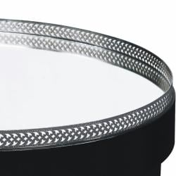 Ebony Finish Mirrored Top Round Accent Table - Thumbnail 1