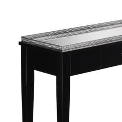 Ebony Finish Mirrored Top Rectangular Console Table - Thumbnail 1