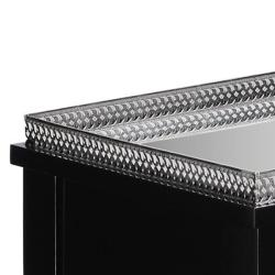 Ebony Finish Mirrored Top Rectangular Console Table - Thumbnail 2