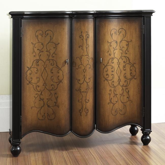 Hand Painted Two Tone Brown Scroll Finish Accent Chest