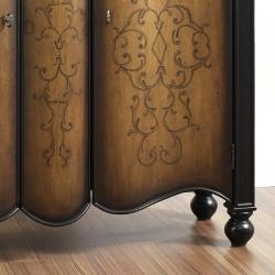 Hand Painted Two Tone Brown Scroll Finish Accent Chest - Thumbnail 2